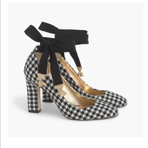 J.Crew Size 9 Bell Ankle Tie Gingham Pumps Shoes